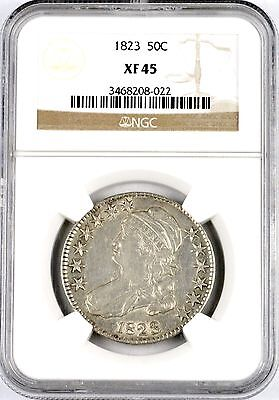 1823 50C United States Capped Bust Silver Early Half Dollar NGC Graded XF 45