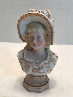 Bisque Miniature Antique Bust Figurine Woman in Gold 15