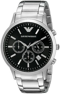 Mens Emporio Armani AR2434 Silver & Black Steel Chronograph Watch RRP £299