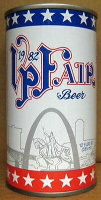 VP FAIR 1982 BEER ss CAN w/ Horse and Boat, Schell Brewing, New Ulm MINNESOTA 1+