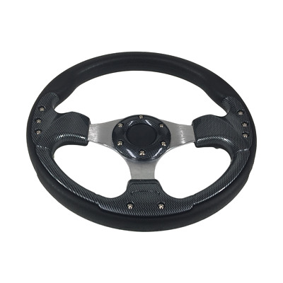 Golf Car Sports Steering Wheel & Hub For Club Car, Ezgo & Yamaha. Carbon Fibre.