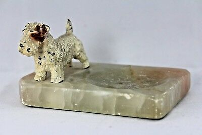 Antique Cold Painted Metal Fox Terrier Figure on Onyx Ashtray. Scottie Dog