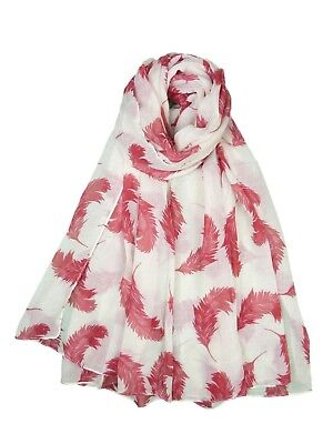 Women Ladies Fashion Pretty Feather Pattern Print Shawl Scarf Scarves 3 Colors