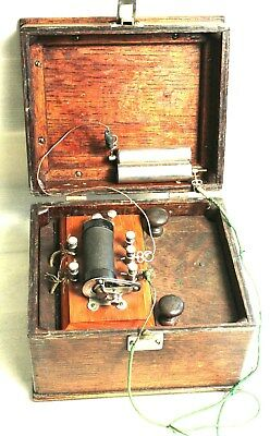 Quack Medical Device Electric Shock In Lovely Oak Box, Brass Hardware Handle-No