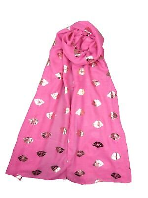 New Design Glitter Lips Kiss Print Ladies Women's Large Scarf Good Quality