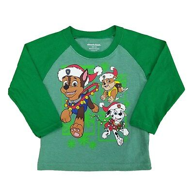Paw Patrol Infant & Toddler Boys Kelly Green Christmas Holiday Long Sleeve Shirt