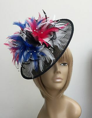 Bespoke Black Cream Fuchsia Royal Blue Hat Weddings Mother of The Bride Ascot