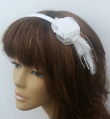New White Satin Flower Headbands Bridesmaids Weddings Flowergirls Parties