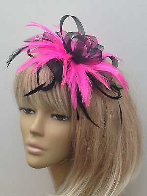Black/Pink Feather Fascinator On Comb Weddings Mother Of The Bride/Groom Races