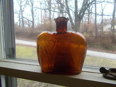Amber Clevenger Bros Hand Blown Elephant Figural Bottle Signed Cb