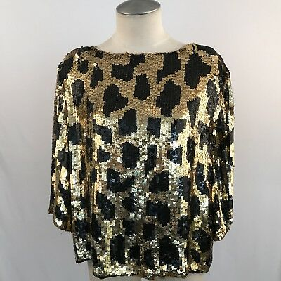 430bb68e1924d VINTAGE 1970S 80S 100% SILK SEQUIN TOP MADE IN INDIA BLACK GOLD SIZE ...