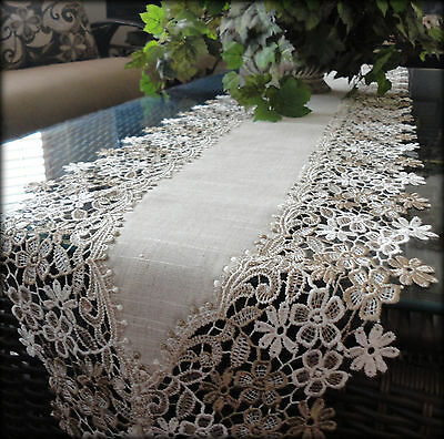 "65"" Dresser Scarf Mantel Shelf Runner Doily Sophisticated Floral Neutral Daisy"