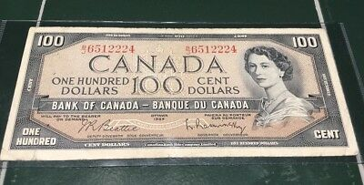 1954 Bank Of Canada One Hundred Dollar $100 Bill Note B/J 6512224 Good Condition