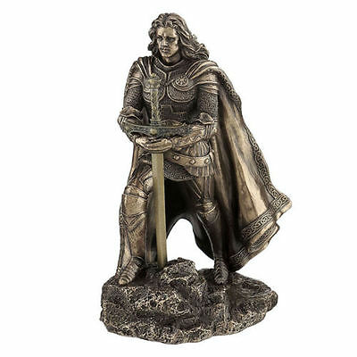 "8.25"" King Arthur & the Sword in the Stone Statue Sculpture Medieval Home Decor"