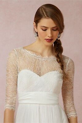 New $220 BHLDN Jenny Yoo Marnie Bridal Sheer Lace Long Sleeve Top Topper Sz S