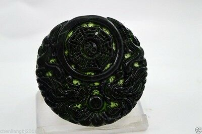 100% China's natural jade nephrite carving black jade pendant Dragon