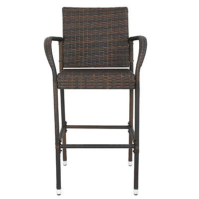 Wicker Bar Stool Outdoor Backyard Rattan Chair Patio Furniture Chair Set of 2