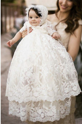 Vintage White Ivory Baby Girls Christening Gown Lace Short Sleeve Baptism Dress
