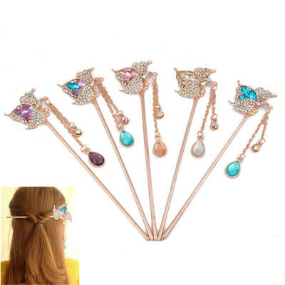 Women Metal Rhinestone Colorful Flower Hair Stick Chopsticks Hairpin Chignon Pin