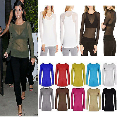 Women Top Ladies Sheer Mesh Fish Net Long Sleeve Scoop Neck T Shirt UK Size 8-22