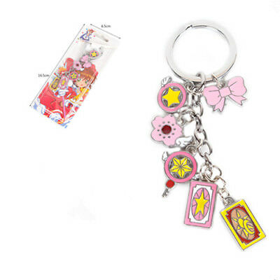 6Pcs/Set Anime Card Captor Sakura Magic Keychain Keyring Metal Pendants Charm