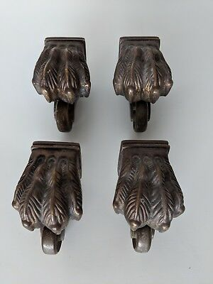 Set of 4 Vintage Antique Style Brass Lion Paw Claw Table Feet Caster Rollers