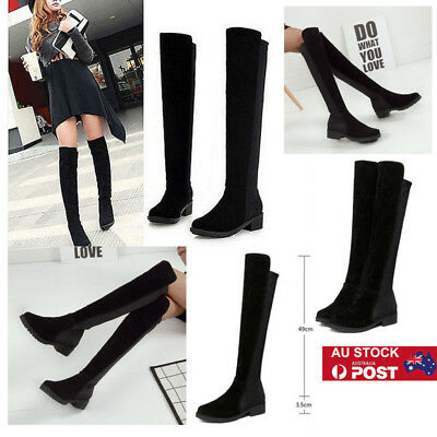 Women Wide Leg Calf Stretch Thigh High Boots Over the Knee Low Heel Boots Shoes