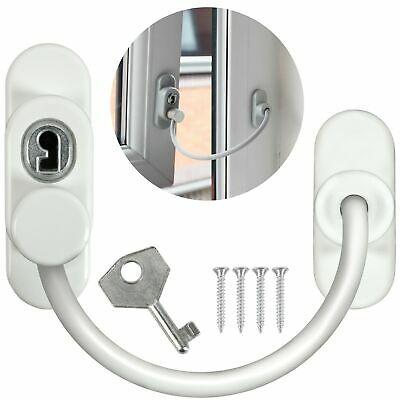WHITE SAFETY WINDOW RESTRICTOR LOCK UPVC/Wooden Door Child Security Wire Cable