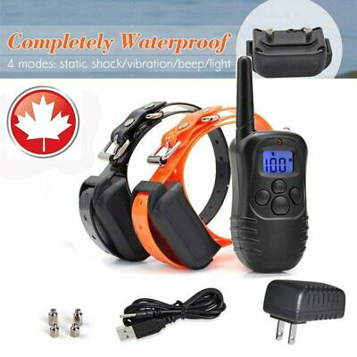 Waterproof Rechargeable Remote LCD Electric Dogs Training Shock Collar Neckband