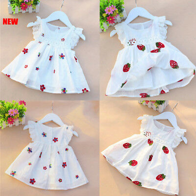 Summer Kid Baby Girl Dress Floral Strawberry Embroidery Sleeveless Party Dresses