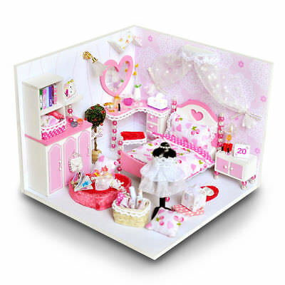 Pink Miniature DIY Wooden Dollhouse Mini Creative Room With Lights Easy Assembly