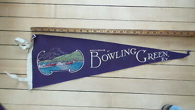 Vintage Large SOUVENIR FELT PENNANT, BOWLING GREEN, KENTUCKY Speedboats on Lake