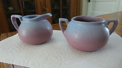 Vintage DICKOTA POTTERY CREAM & SUGAR SET Blue-to-Pink