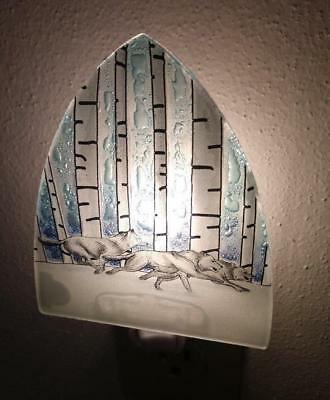 Wolf Pack Wolves Birch Trees Fused Art Glass Night Light Lodge Made in Ecuador