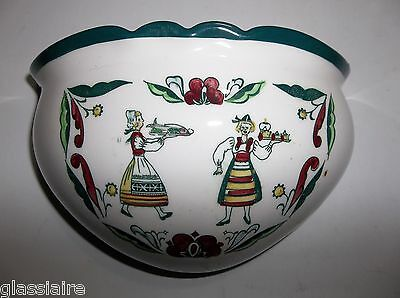 Vintage GERMAN Porcelain Wall Pocket SALT Planter Traditional Dressed Women