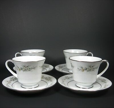 Noritake MELISSA Cup & Saucer Sets 4 Contemporary Fine China 3080