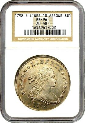 1798 $1 NGC AU58 (Large Eagle, 5 Lines, 10 Arrows, BB-96) Lustrous AU