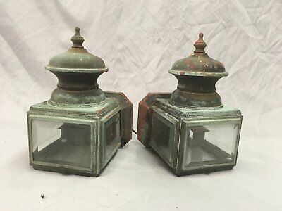 Small Vtg Arts Crafts Copper Porch Sconce Pair Old Lights Beveled Glass 80-18E