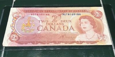 Bank Of Canada 1974 Two Dollar $2 Bill Note  AGT 8105184 Collectors Grade #120