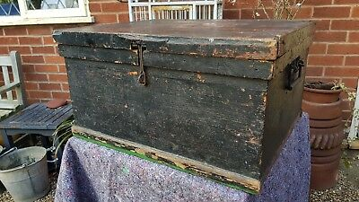 Nice large old solid wooden carpenters tool chest box with solid handles