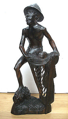 Large Vintage  Balinese  Fine Carving Of A Fisherman