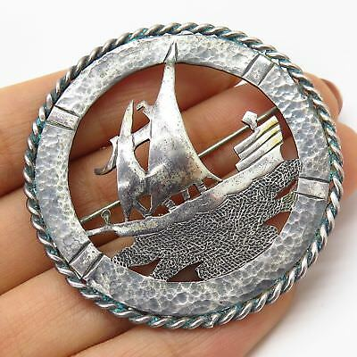 Vtg Temming 925 Sterling Silver Sailboat Hammered Hand Wrought Large Pin Brooch