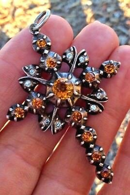 PRISTINE Antique Georgian Large Rare Cross - Silver TOPAZ Paste Brooch