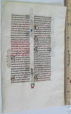 Masterful Medieval Illuminated Manuscript Lf,Vellum,Deco.color Gold Init.c.1475