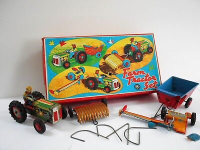 Vintage Boxed Farm Tractor Friction Tin Toy Set / Modern Toys Japan