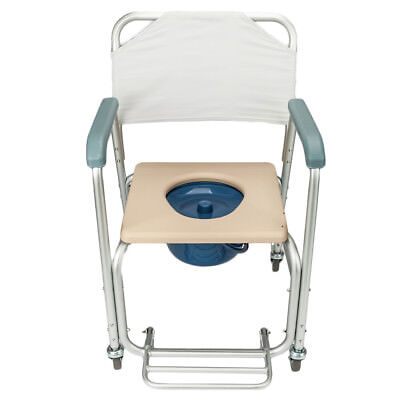 Adult Commode Chair Transport Shower Bedside Footrests Wheelchair Toilet Chair