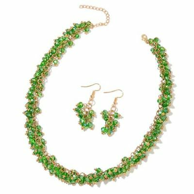 Russian Diopside Necklace (Size 18 with 2 inch Extender) and Hook Earrings