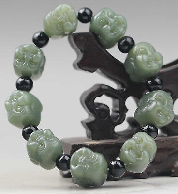 China natural hetian jade bracelet hand carved jade buddha bangle NO.C579
