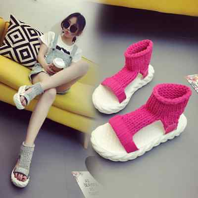 2018 new open-toed Rome shoes wild comfortable wool women's shoes thick platform