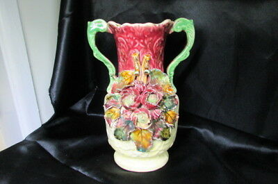 Antique Victorian Majolica 2 Handled Vase
